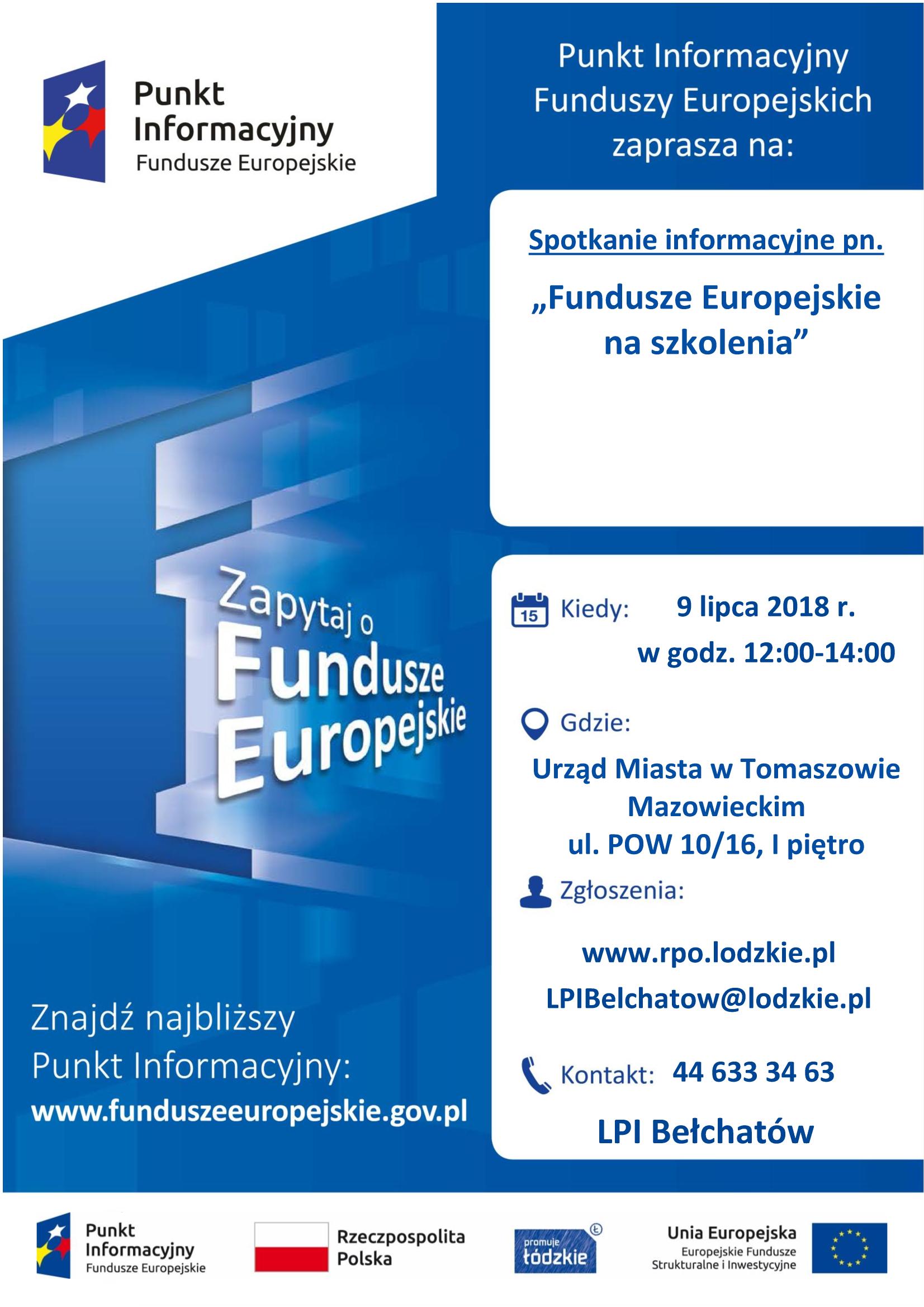 plakat informujący o spotkaniu dot Funduszy Europejskich