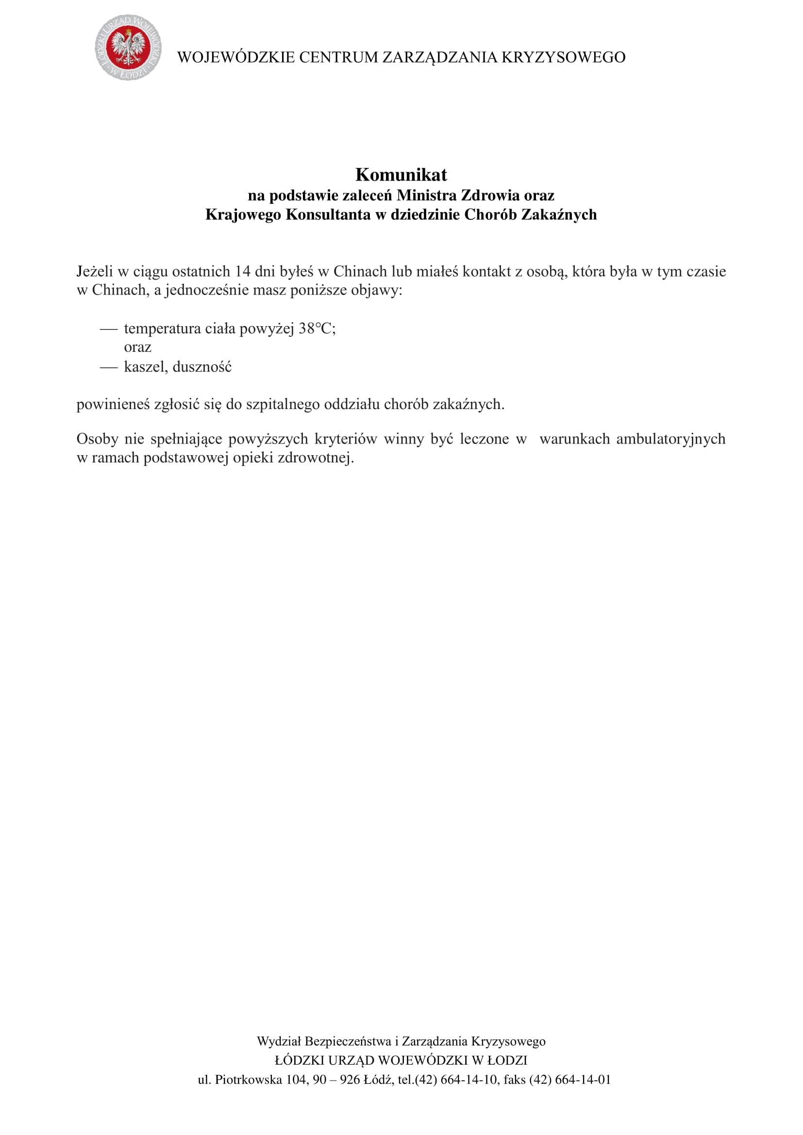 koronawirus- ostrzeżenie