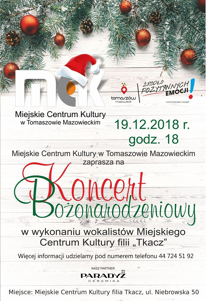 koncert bożonarodzeniowy w tkaczu