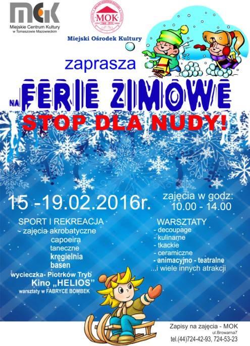 Plakat dotyczący Ferii Zimowych
