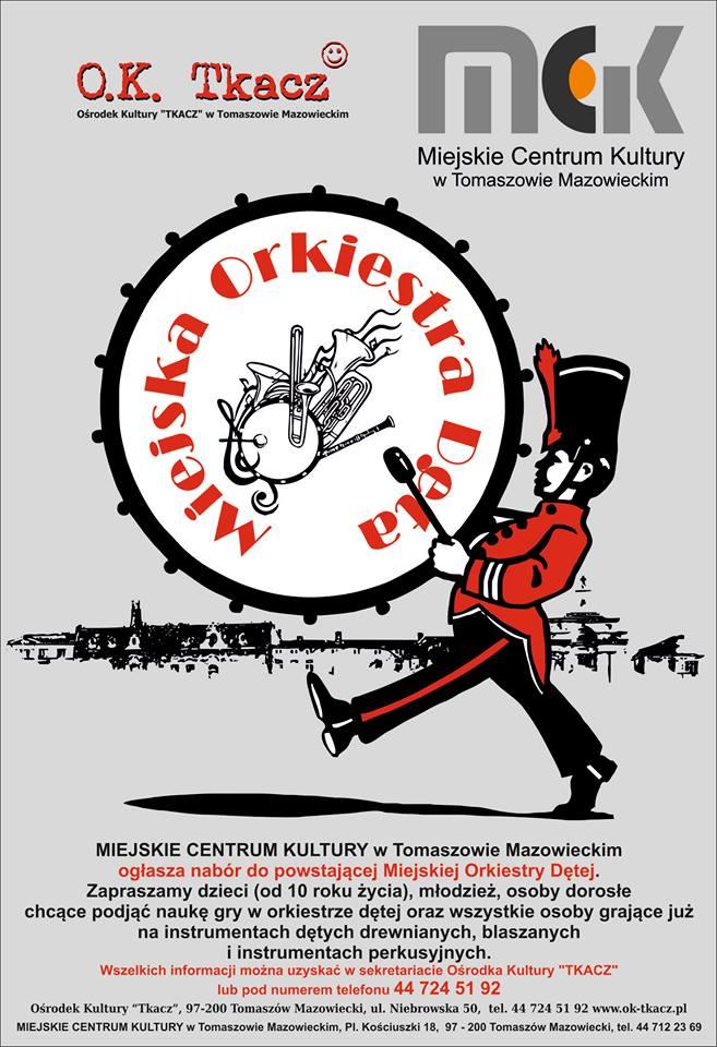 Plakat dotyczący naboru do orkiestry dętej