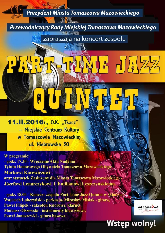 Plakat koncertu Part-Time Jazz Quintet