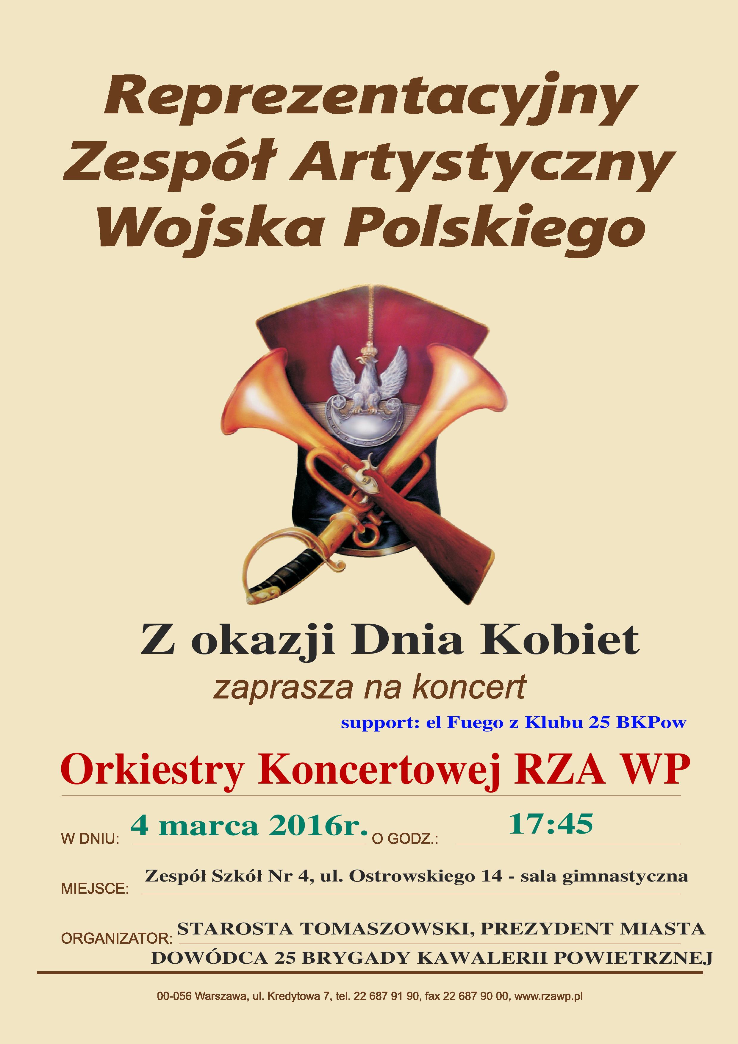 Plakat koncertu z okazji Dnia Kobiet