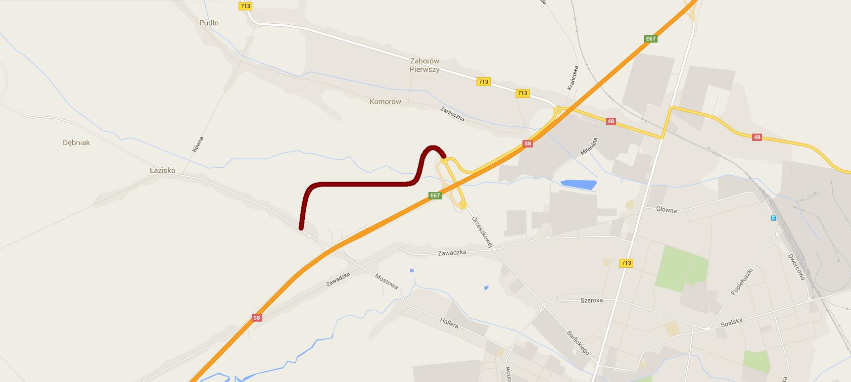 Mapa z planowanym przebiegiem drogi