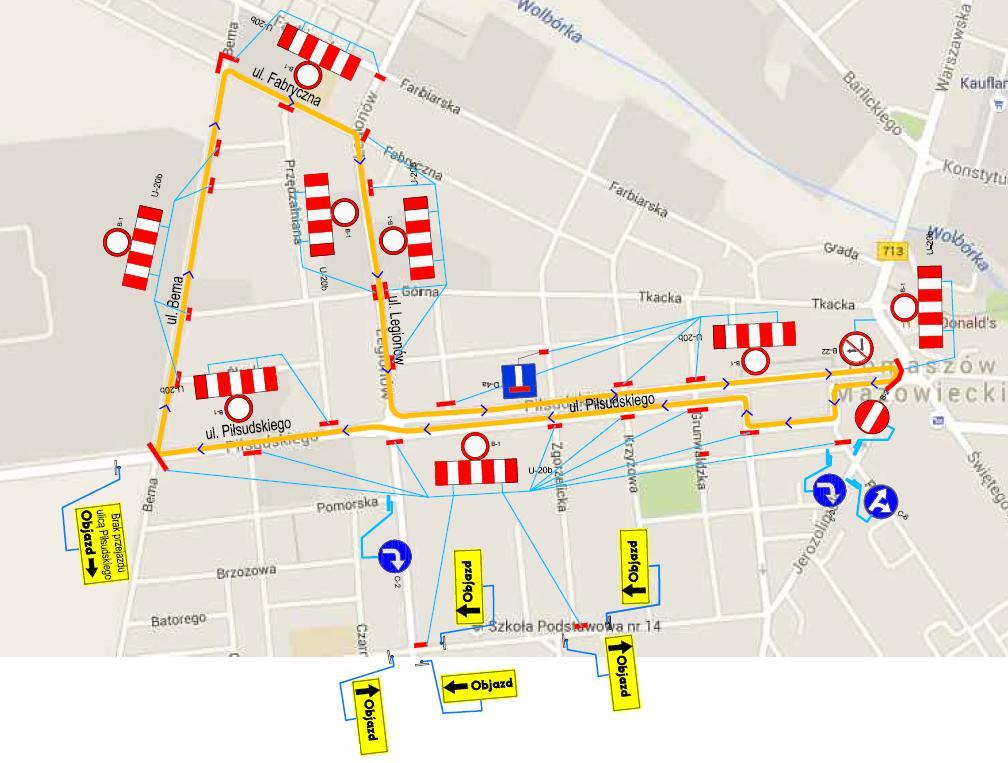 Objazdy - mapa