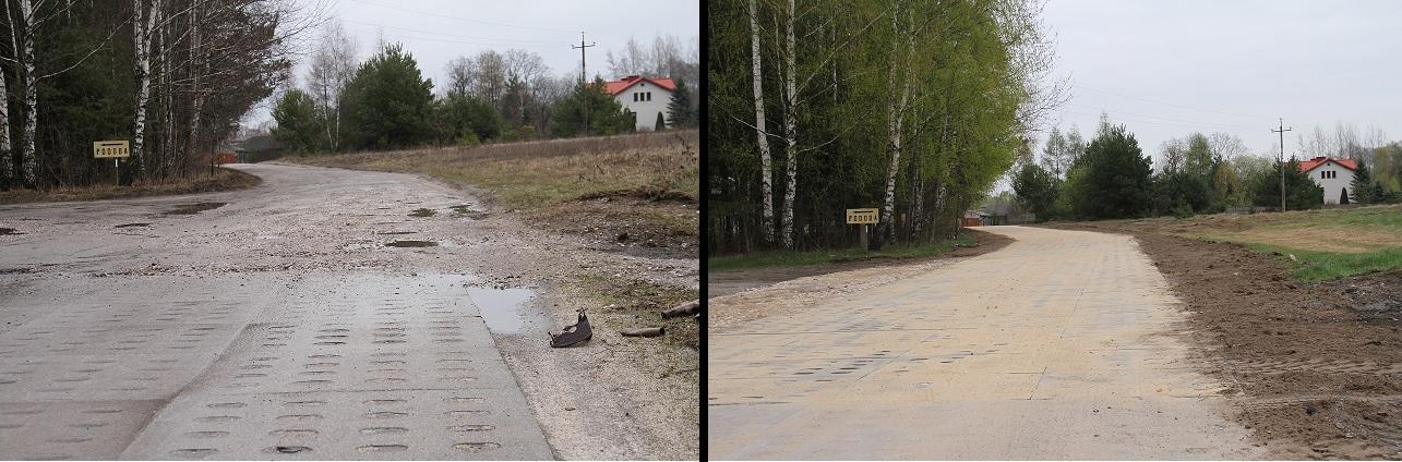 Zdjęcie ulicy Torowej przed i po