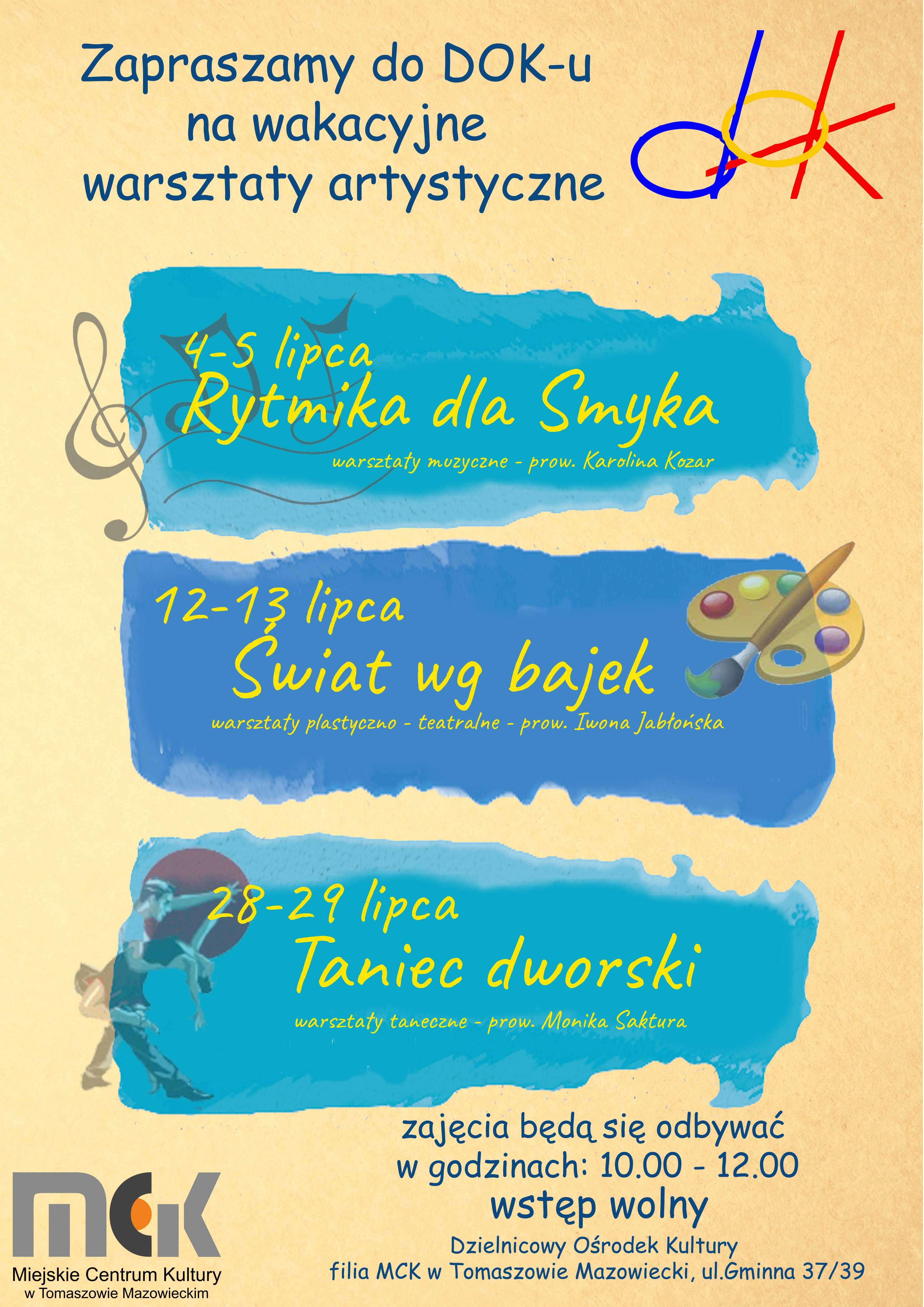 Plakat warsztatów wakacyjnych