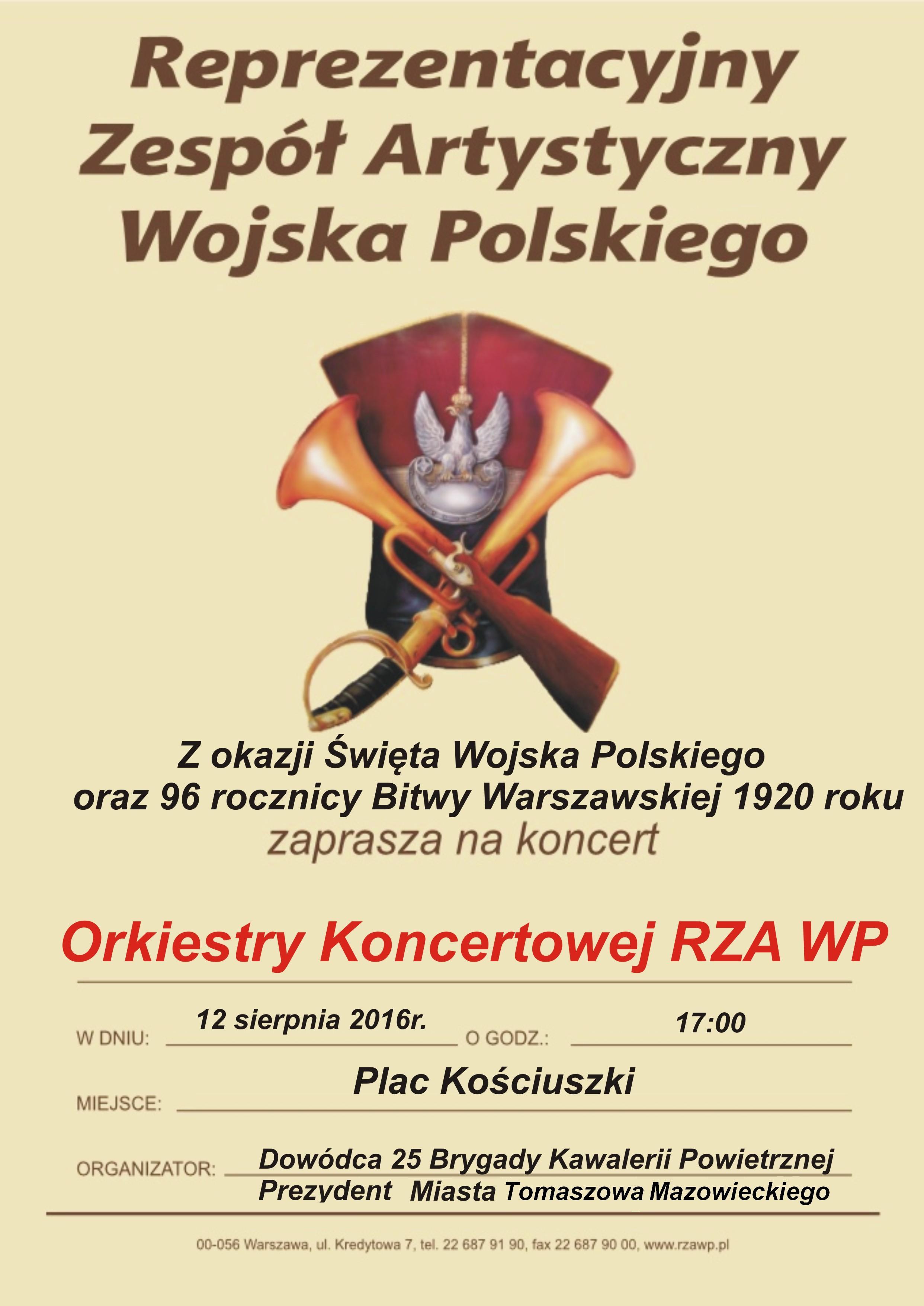 Plakat zapowiadający Koncert