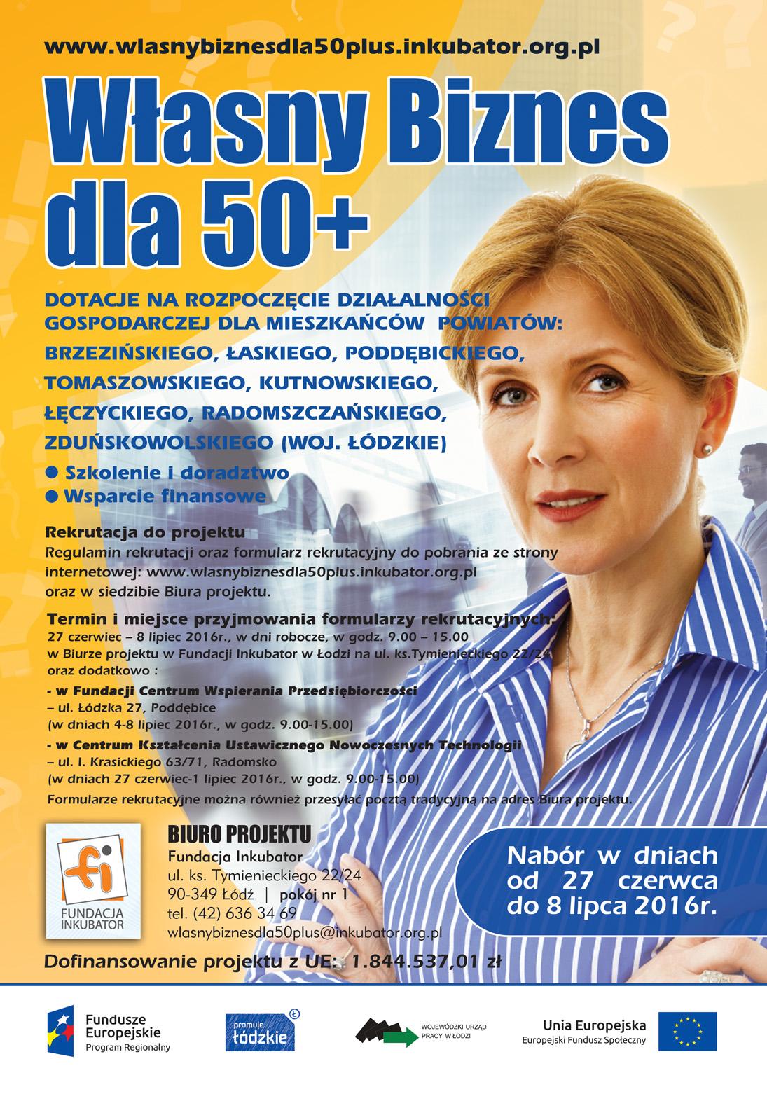 Plakat projektu Własny biznes 50+