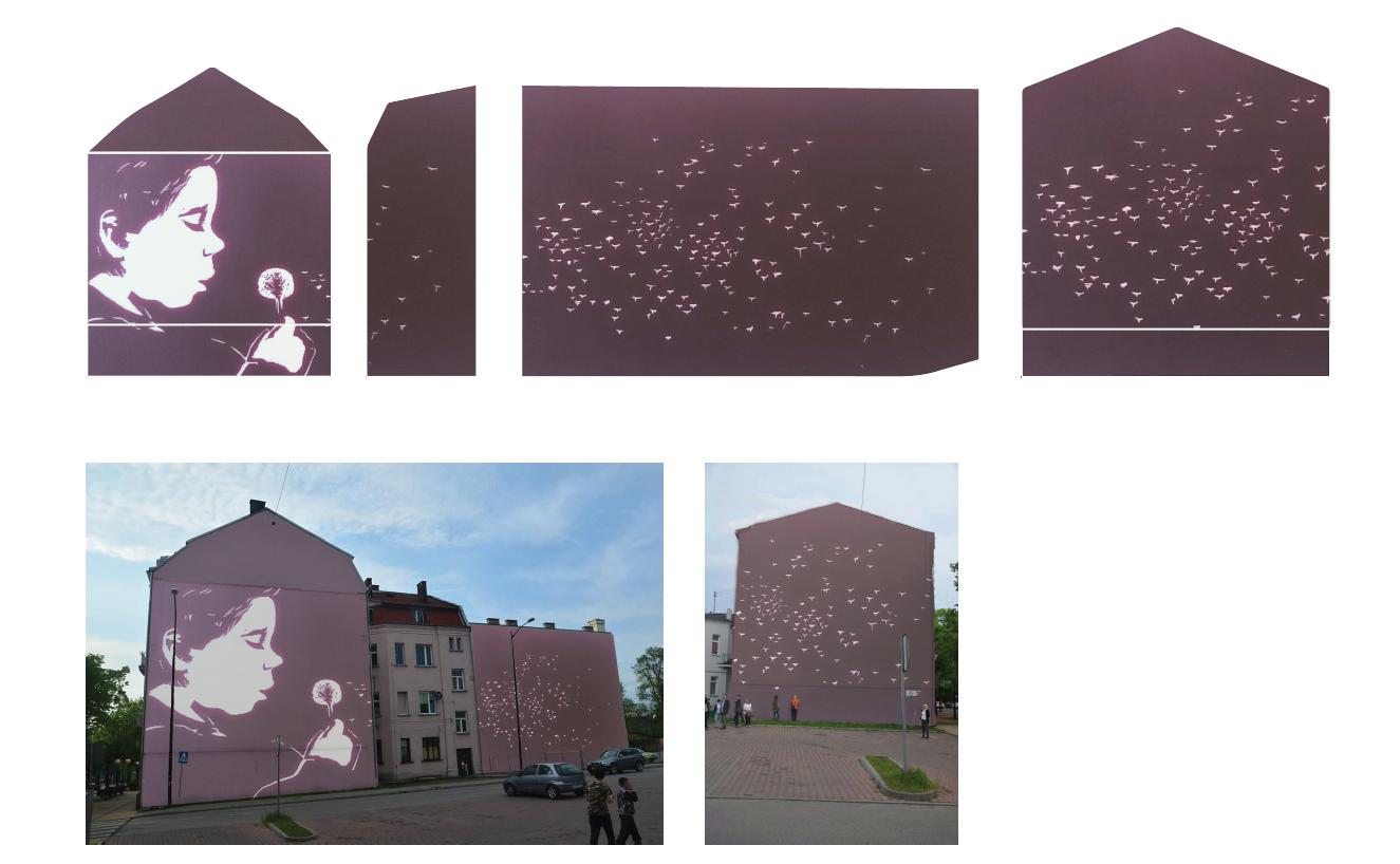 Projekt muralu nr 5, wykonany przez Justynę Maksajdę (Łódź)