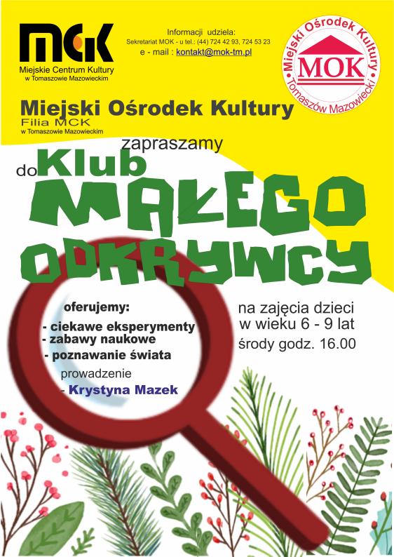 Plakat z informacjami o Klubie Małego Odkrywcy
