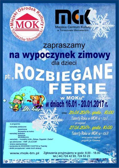 Plakat z informacjami o feriach w MOKu