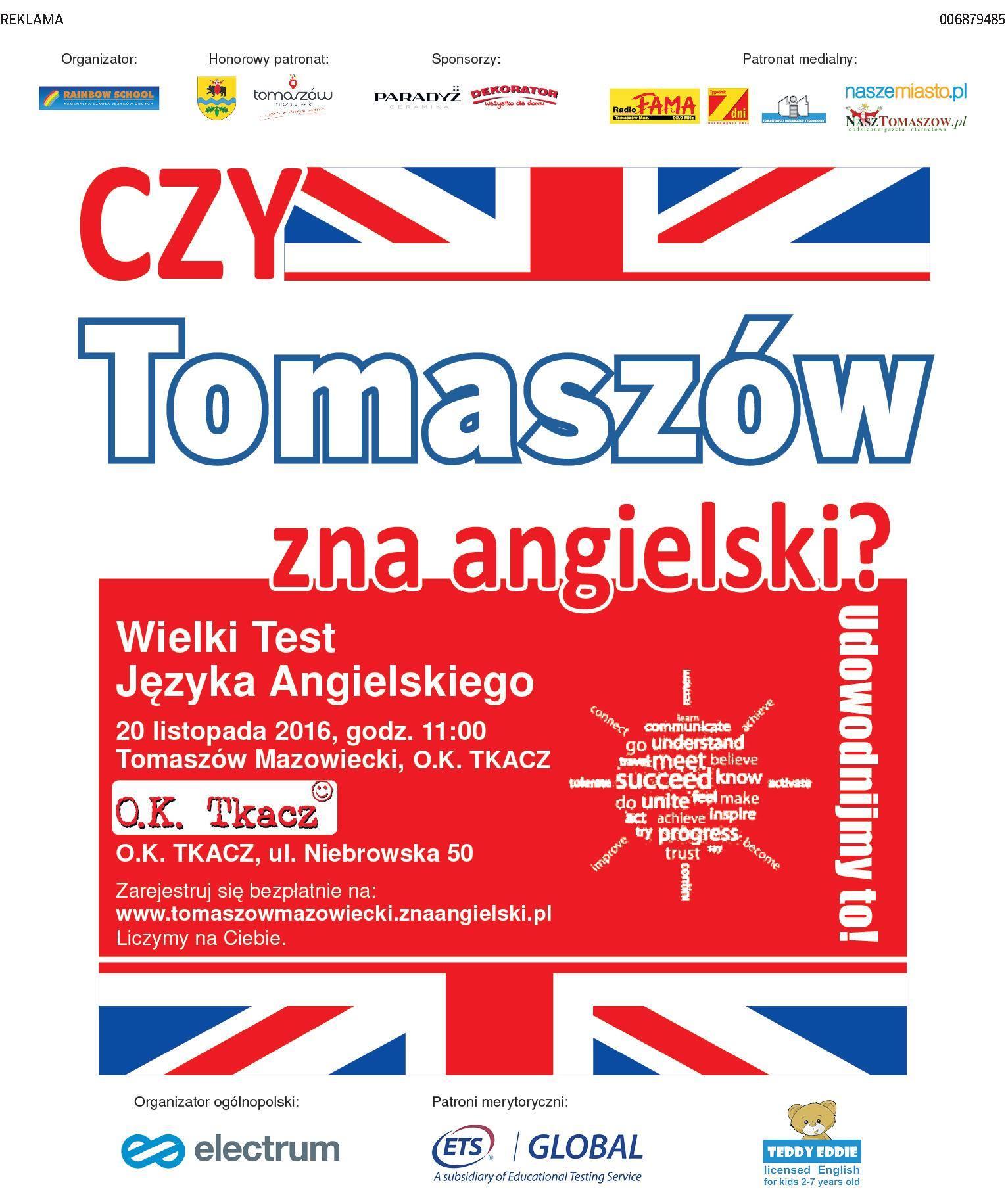 Plakat z informacjami o tekście