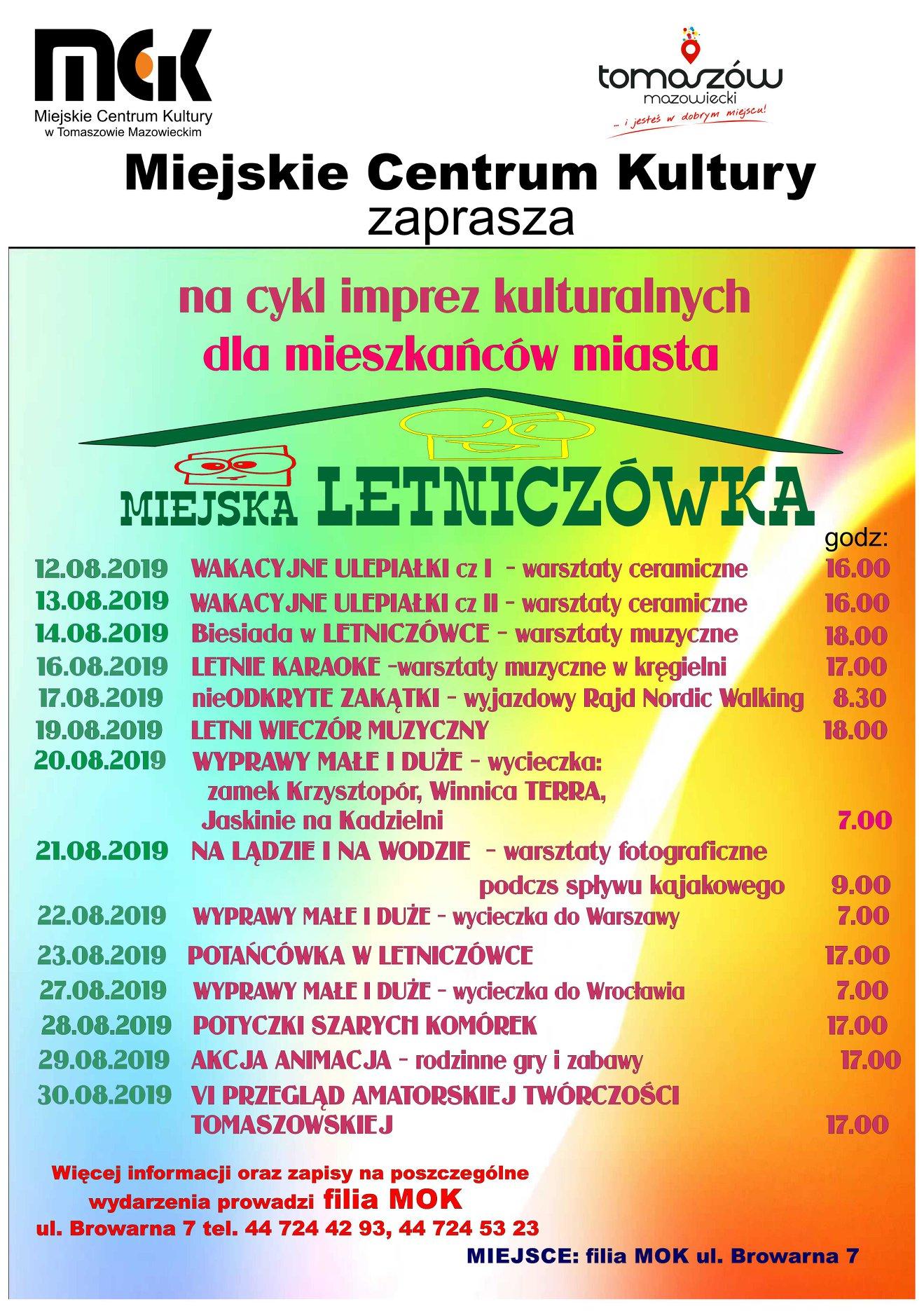 Plakat wydarzeń w ramach cyklu Miejska Letniczówka