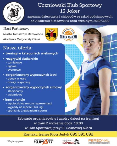 Plakat dot. trenignów - sierpnien 2019