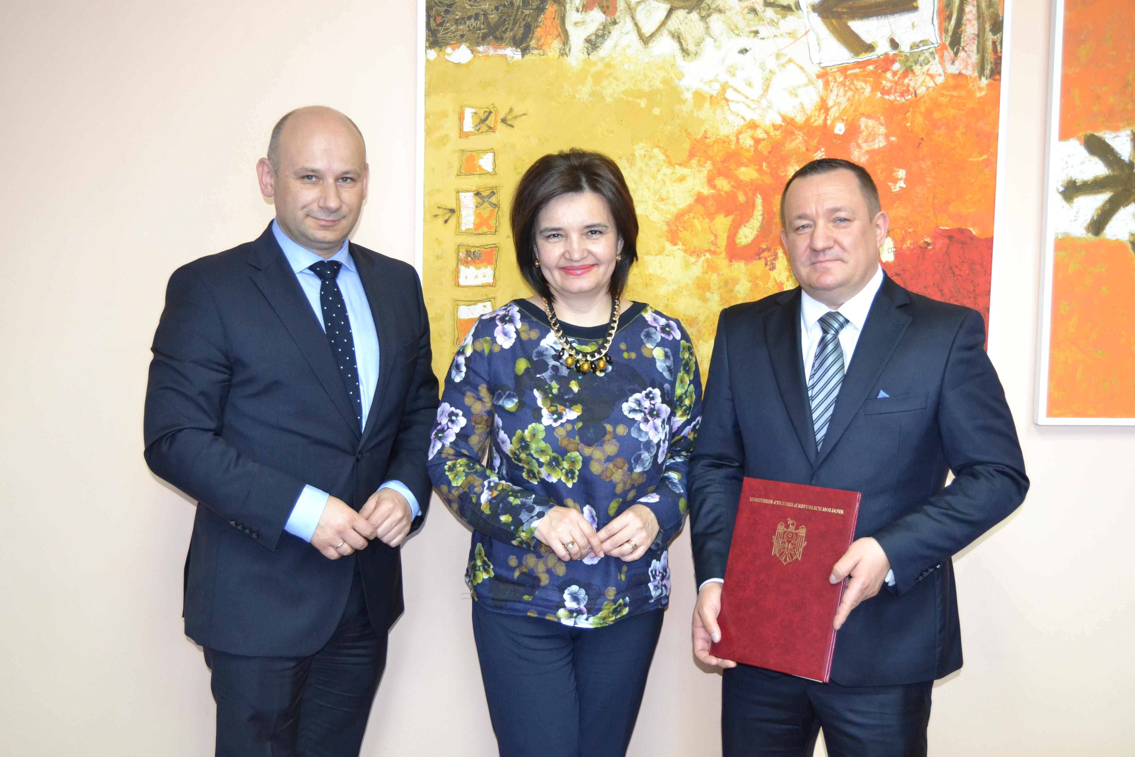 Prezydent Marcin Witko podczas spotkania z Minister Kultury Mołdawii