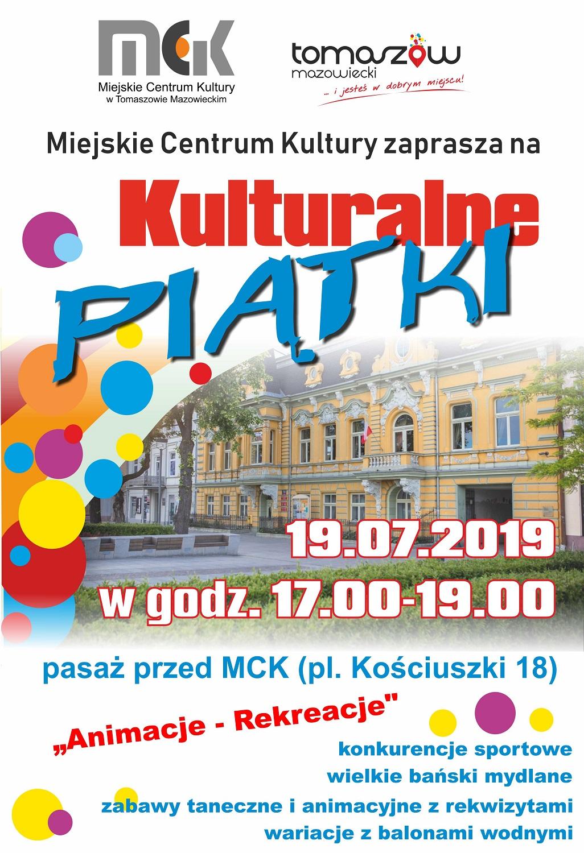 """Plakat wydarzenia """"kulturalny piątek 19 lipca"""""""