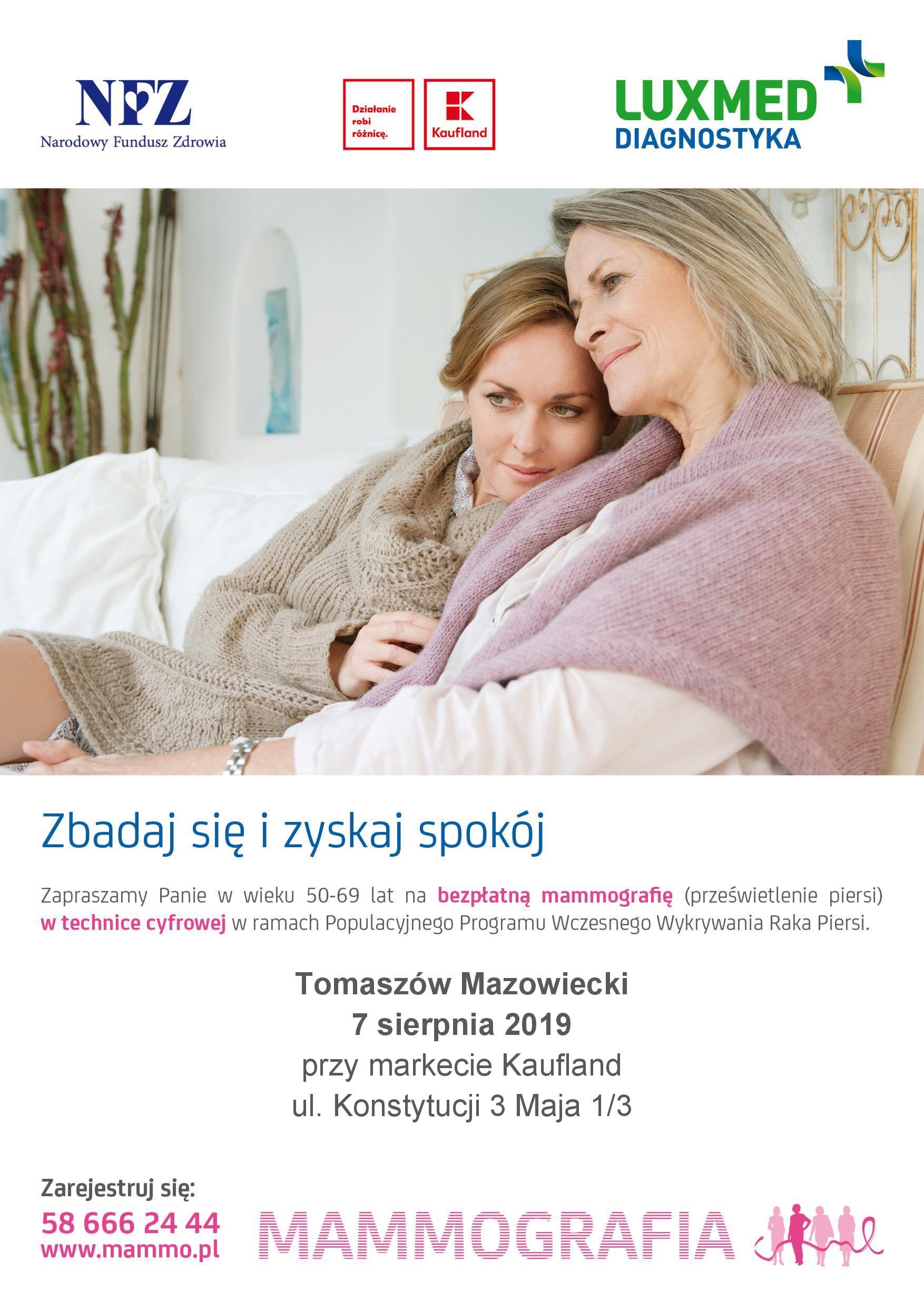 Plakat zapowiadający badania mammograficzne w Tomaszowie 7 sierpnia