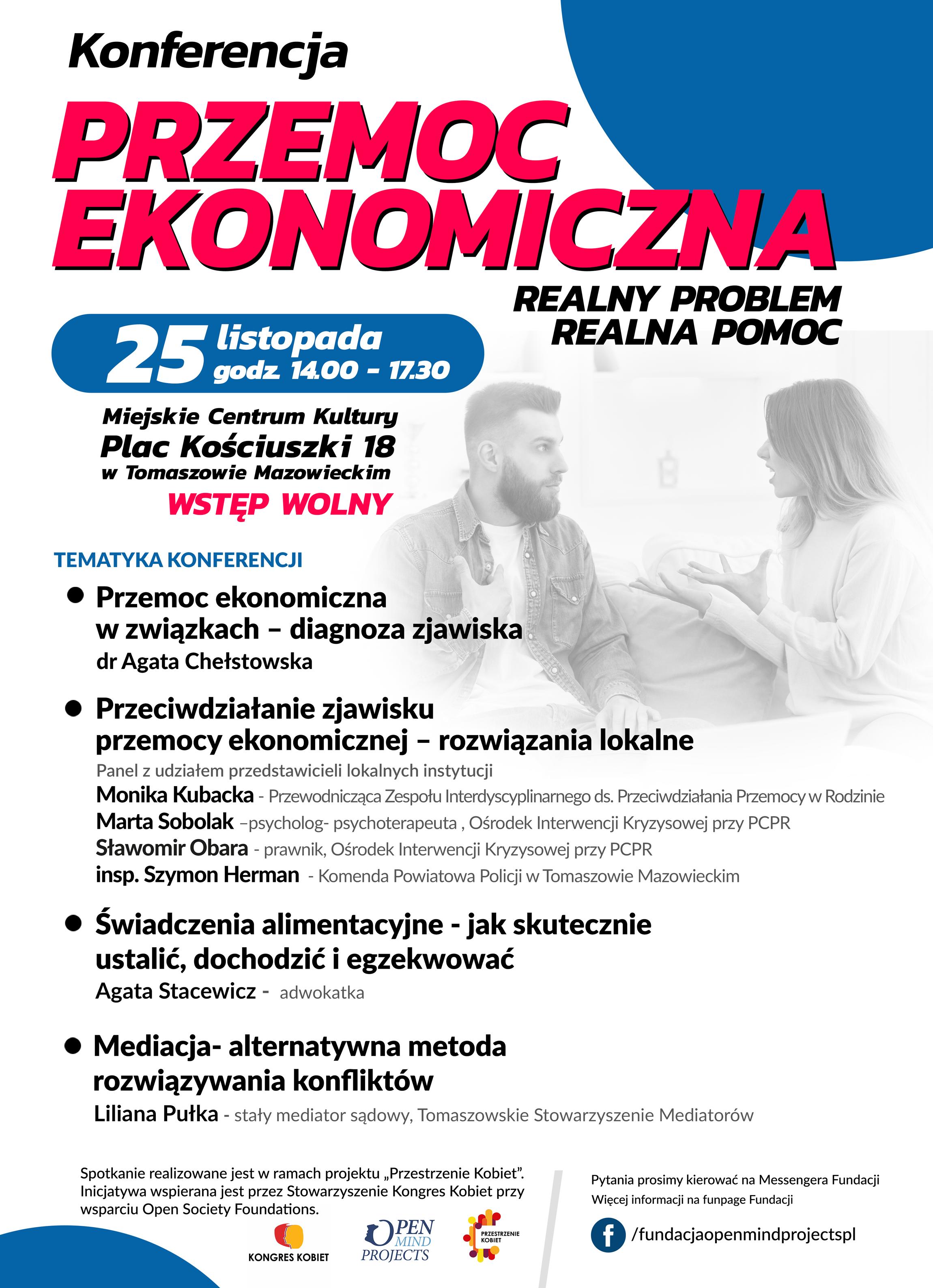 Plakat konferencji przemoc ekonomiczna 25 listopada 2019