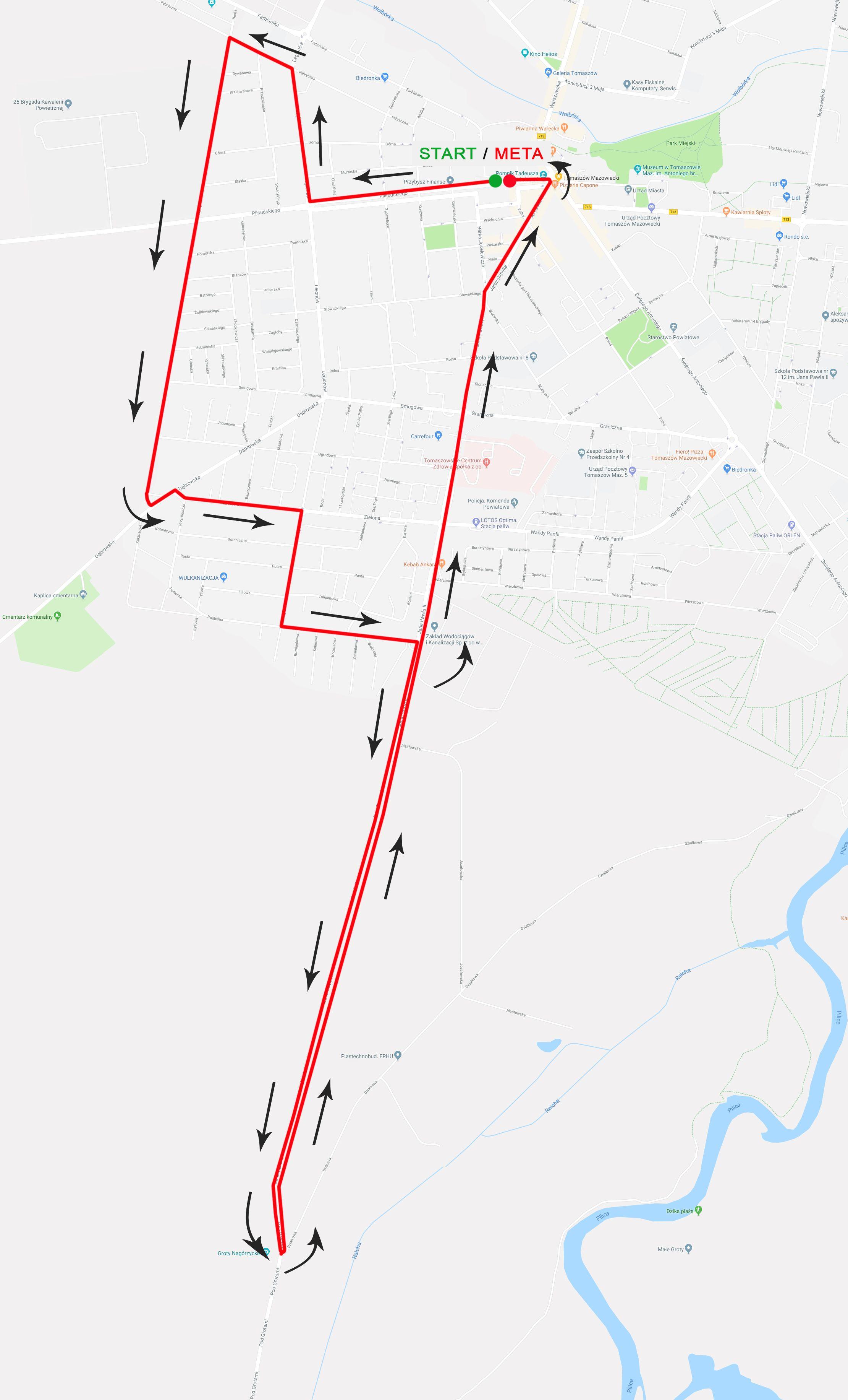 Trasa biegu malinowskiego na 10 km