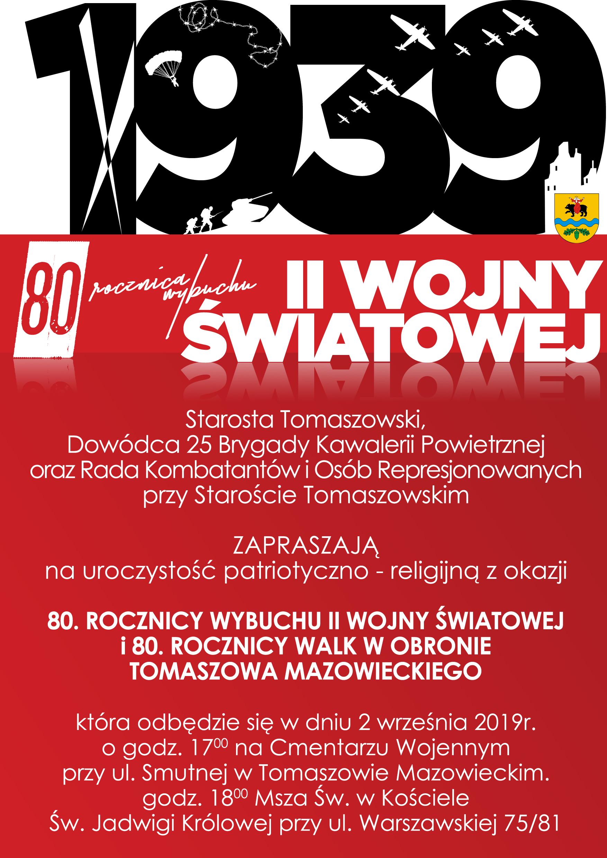 plakat obchodów 80 rocznicy wybuchu II wojny światowej