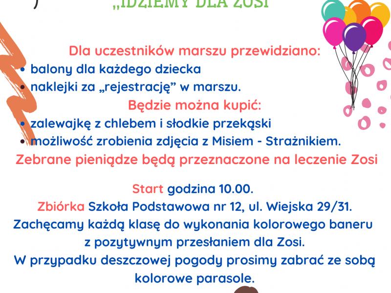 Plakat akcji SP nr 12 idziemy dla Zosi. Na plakacie postacie rysunkowe dzieci z kolorowymi balonikami