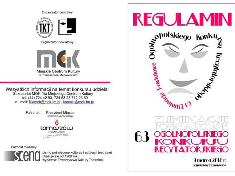 plakat informacyjny, Miejskie Centrum Kultury, konkurs recytatorski
