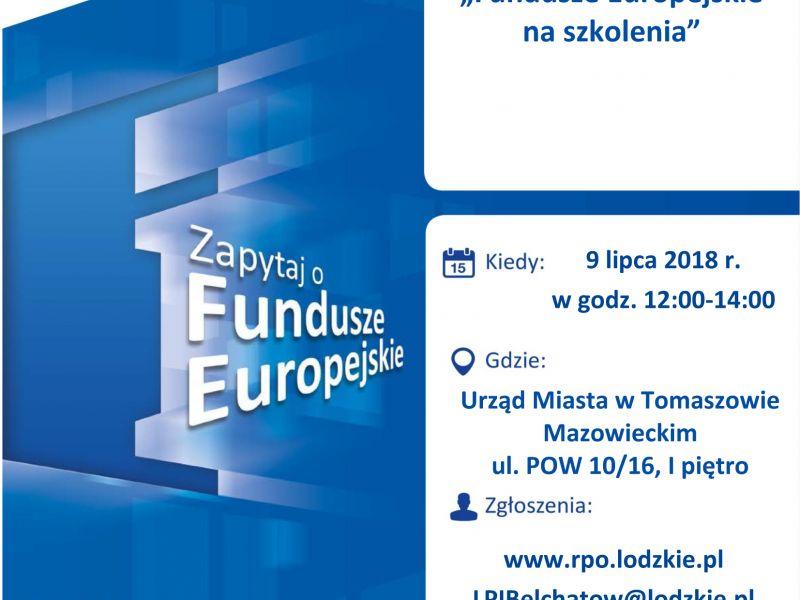 plakat informujący o spotkaniu dot dotacji FE