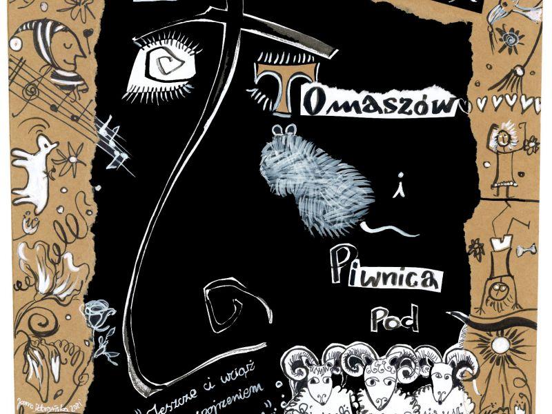 Na zdjęciu plakat koncertu Piwnicy pod Baranami. Na plakacie obok informacji tekstowej rysunki baranów, szczura i kucyka