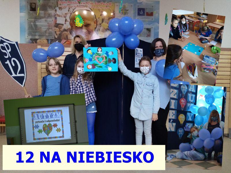 Na zdjęciu uczniowie SP nr 12 ubrani na niebiesko podczas akcji promowania wiedzy na temat autyzmu