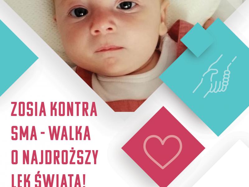 Na zdjęciu trzymiesięczna Zosuia chorująca na SMA. baner ze zbiórką publiczną