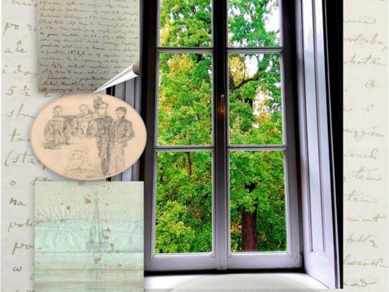 Plakat muzeum z czytania listów Ostrowskiego. Na plakacie okno muzealne z widokiem na hrabski ogród