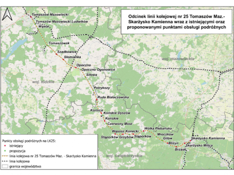 Na zdjęciu mapa zmodernizowanej linii kolejowej - zaznaczone plany modernizacji