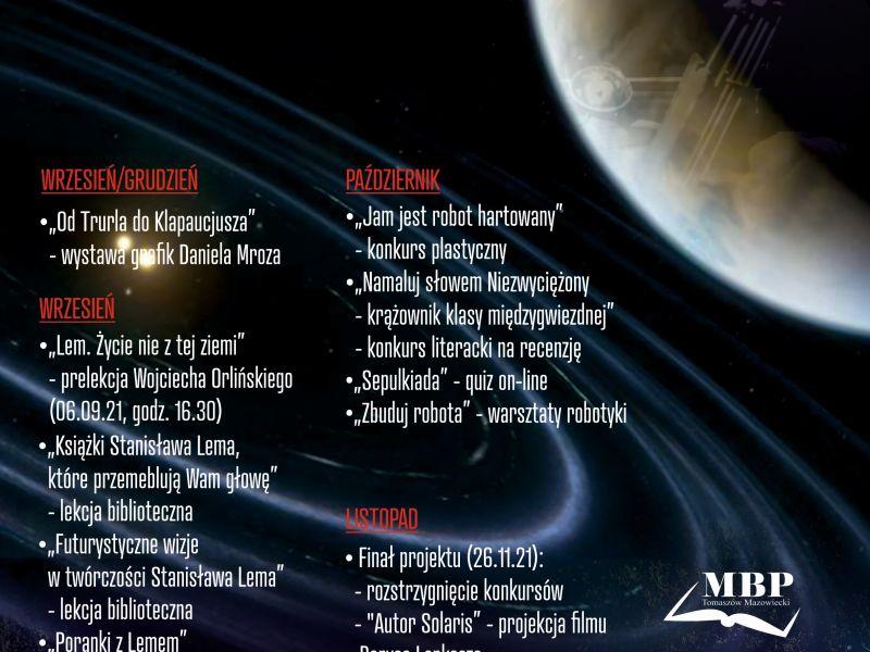kosmos, planety,twarz lema, tekst z informacji