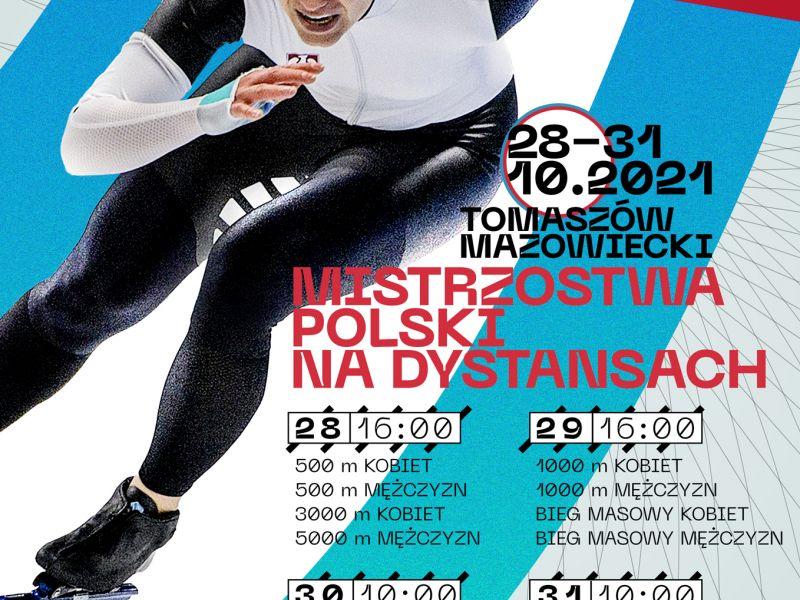 Na zdjęciu plakat Mistzrostw Polski na Dystansach w Arenie Lodowej. Na plakacie łyzwiarka podczas wyścigu w biało-czarnym kombinezonie
