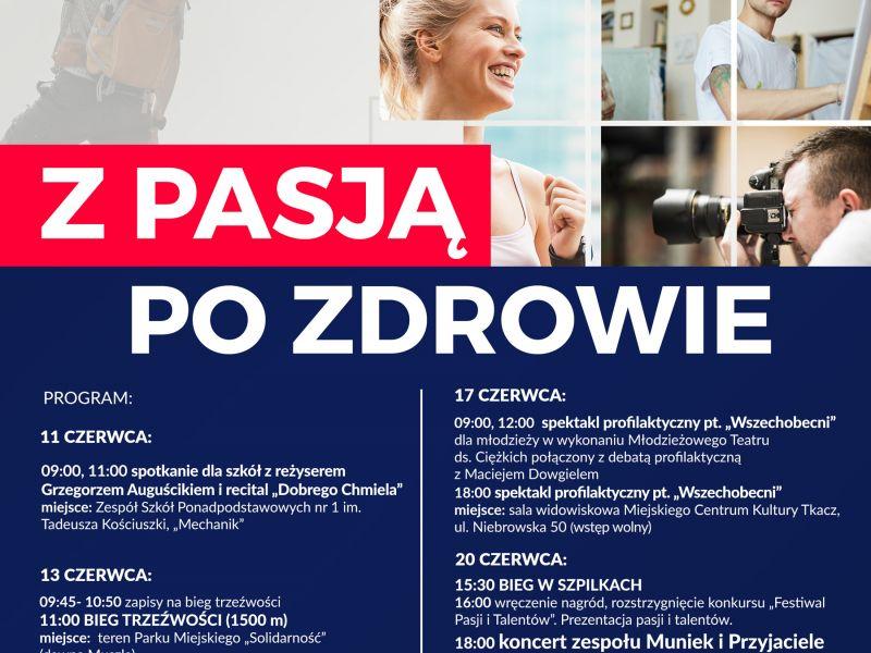 Na zdjęciu plakar tegorocznej edycji Tomaszowskiego Forum Trzeźwości. Na plakacie zdjęcia artystów i uśmiechniętej kobiety