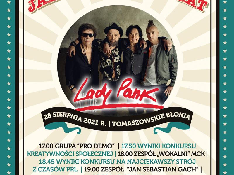 niebieski plakat z treścią z informacji oraz zdjęciem zespołu lady pank