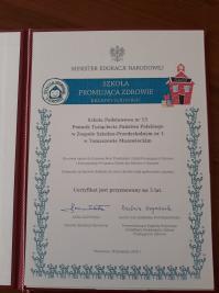 Certyfikat Szkoły Promującej Zdrowie dla  Zespołu Szkolno-Przedszkolnego nr 1