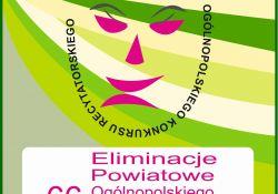 Na zdjęciu plakat Elimitacji Powiatowych Ogólnopolskiego Konkursu Recytatorskiego. Na plakacie maski teatralne