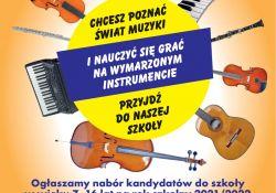na zdjęciu plakat PSM z ogłoszeniem o naborze/ na plakacie grafiki instrumentów muzycznych
