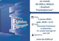 Fundusze Europejskie na rozwój  dla  Mikro, Małych i Średnich Przedsiębiorstw