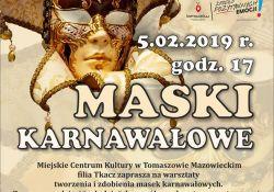 """Zaproszenie na warsztaty """"Maski karnawałowe"""""""