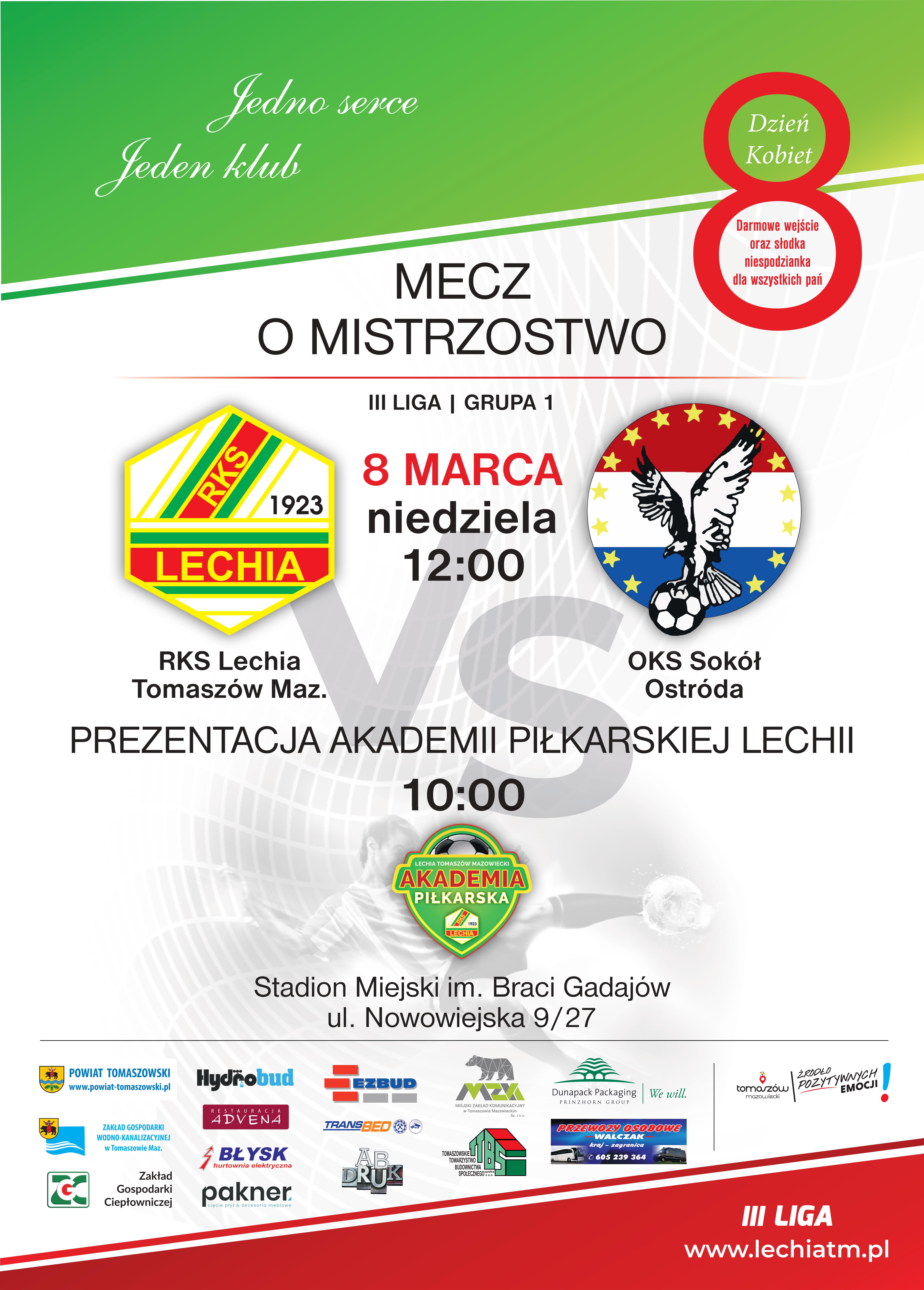 mecz RKS Lechia OKS Sokół Ostróda plakat