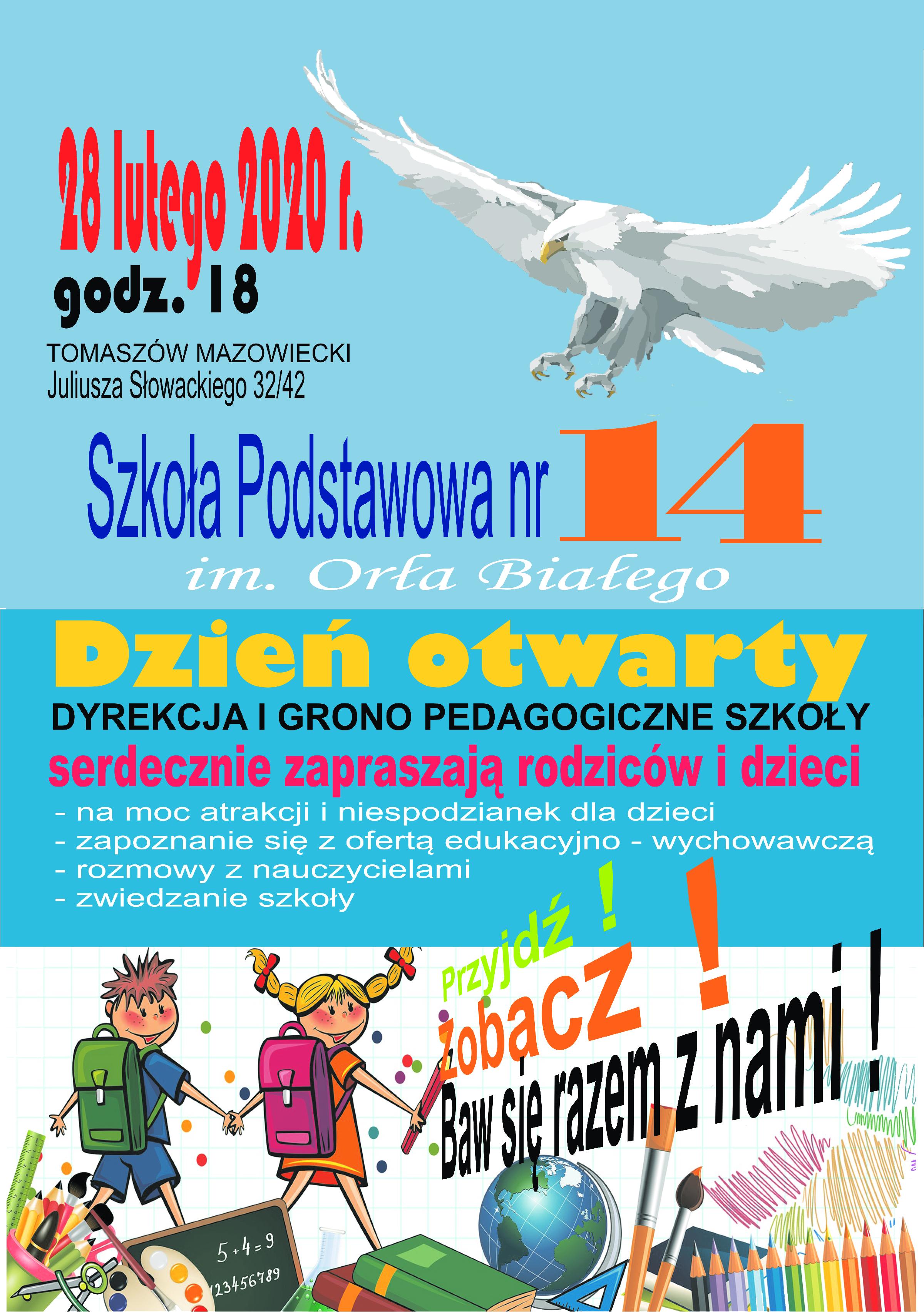 dzień otwarty w SP 14 2020 plakat