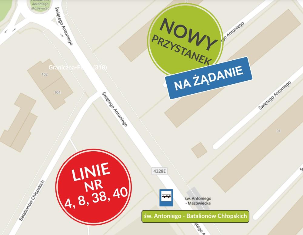 mzk nowy przystanek ul. św. Antoniego grafika